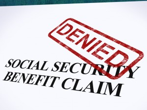 Social Security Claim Denied Stamp Shows Social Unemployment Benefit Refused